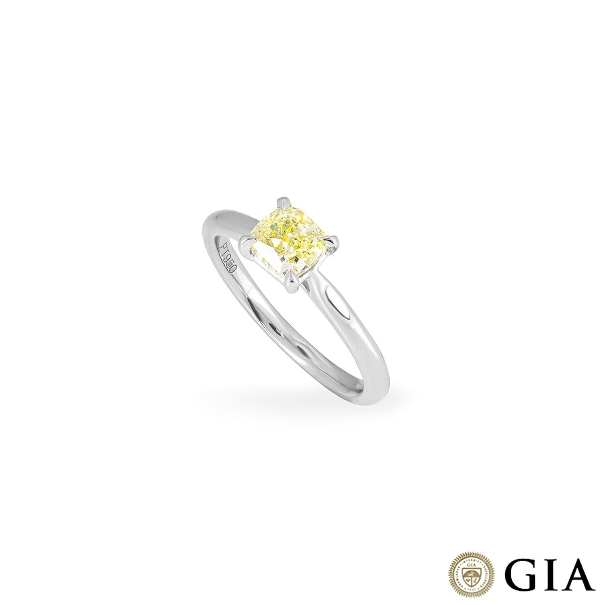 Cushion Cut Platinum Fancy Yellow Diamond Ring 1.01ct SI1